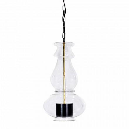 Lámpara colgante artesanal en vidrio soplado y latón Made in Italy - Vitrea