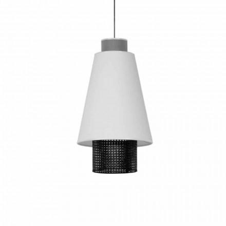 Lámpara colgante de diseño moderno en tela y ratán Made in Italy - Sailor