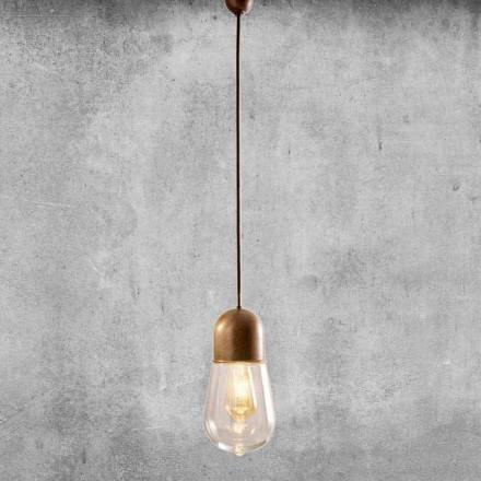 Lámpara colgante de diseño vintage en latón y vidrio - Aldo Bernardi Guinguette
