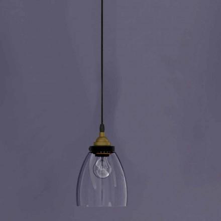 Lámpara Suspendida de Diseño en Metal y Vidrio Transparente Made in Italy - Clizia