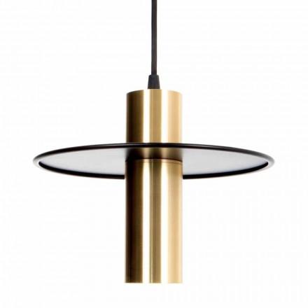 Lámpara colgante hecha a mano en hierro y latón con LED Made in Italy - Astio