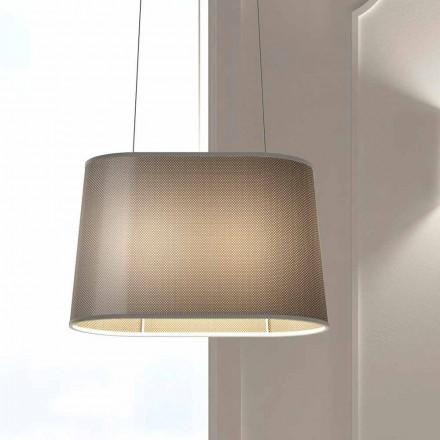 Lámpara suspendida de metal con pantalla de red o lino Made in Italy - Jump