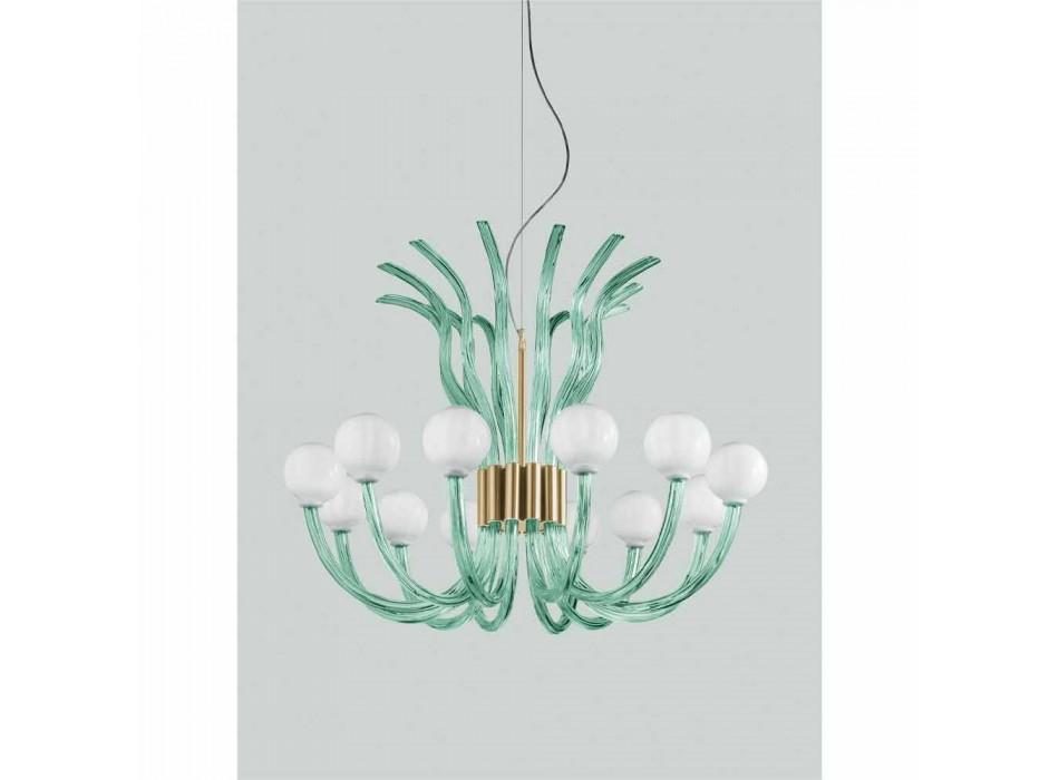 Lámpara de araña artesanal de vidrio con 12 luces de Venecia, Made in Italy - Antonietta
