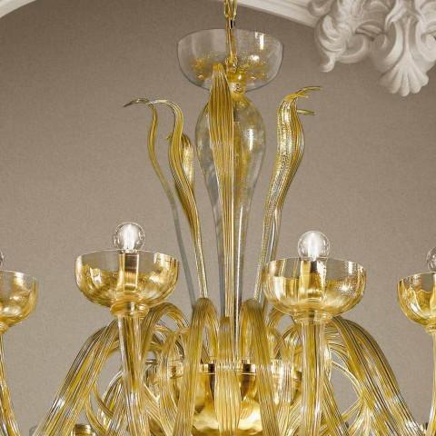 Araña de 16 luces en vidrio veneciano y oro, hecha a mano en Italia - Regina