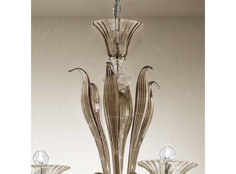 Araña artesanal de 6 luces de vidrio veneciano ahumado Made in Italy - Agustina