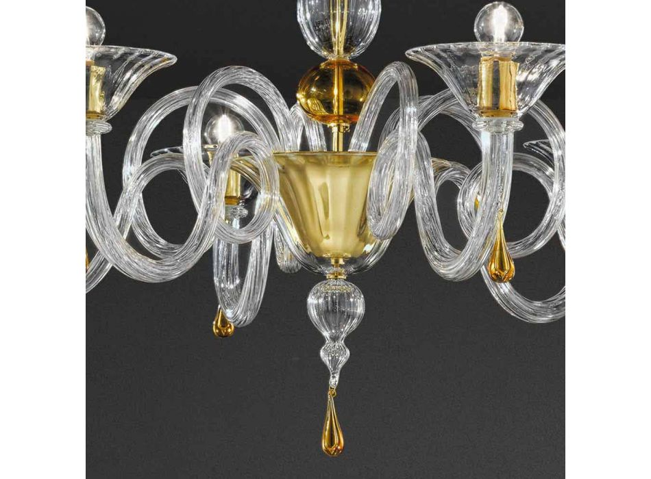 Lámpara de araña de cristal veneciano hecha a mano de 6 luces, Made in Italy - Margherita