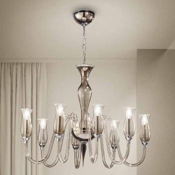 Araña artesanal de 8 luces de vidrio veneciano ahumado Made in Italy - Vittoria
