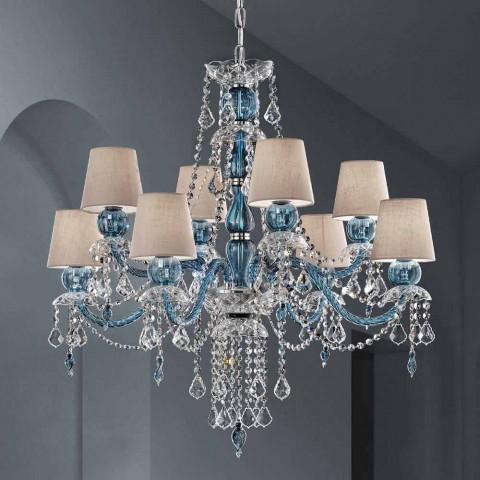 Araña de 8 luces en vidrio veneciano Hecho a mano, Made in Italy - Milagros