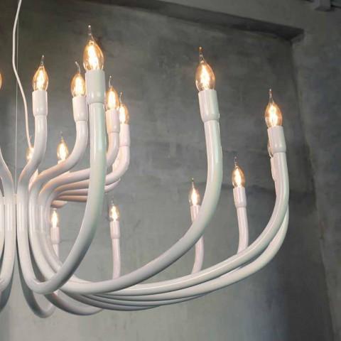Araña de suspensión con 16 o 32 luces en aluminio blanco o negro - Alviso