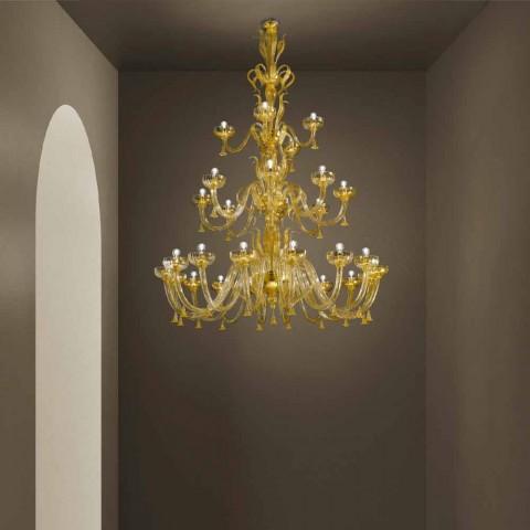 Araña artesanal con 28 luces en vidrio veneciano y oro Made in Italy - Regina