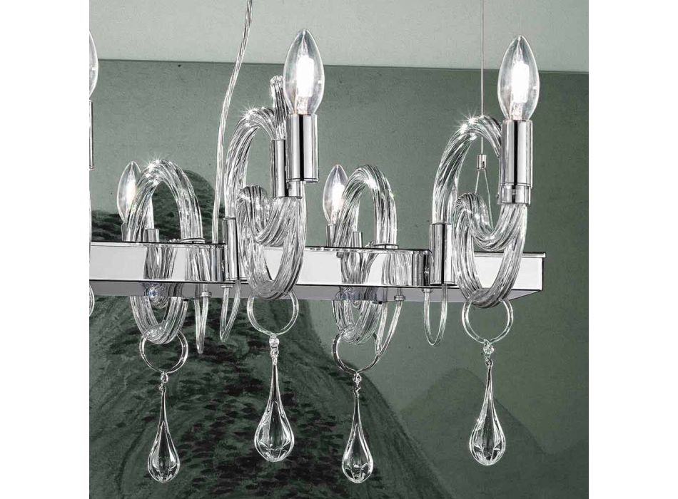 Araña artesanal de 6 luces en vidrio veneciano Made in Italy - Bernadette