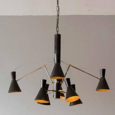 Lámpara de araña hecha a mano con estructura de hierro y aluminio Made in Italy - Selina