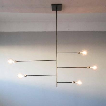 Lámpara de araña de diseño artesanal con estructura de hierro Made in Italy - Tinna