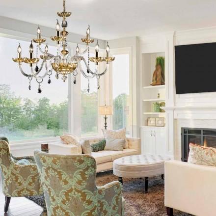 El diseño clásico para lámparas de techo 9 luces y fino vaso de cristal