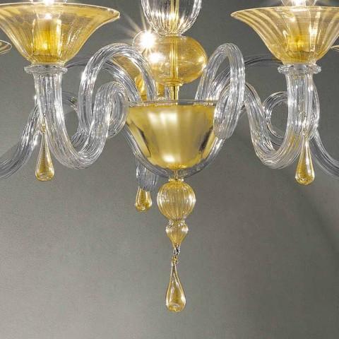 Araña de cristal Venecia de 5 luces, hecha a mano en Italia - Margherita
