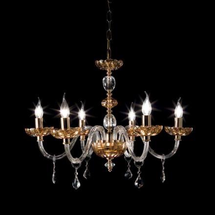 Chandelier diseño clásico con luces 6 de vidrio y cristal fino