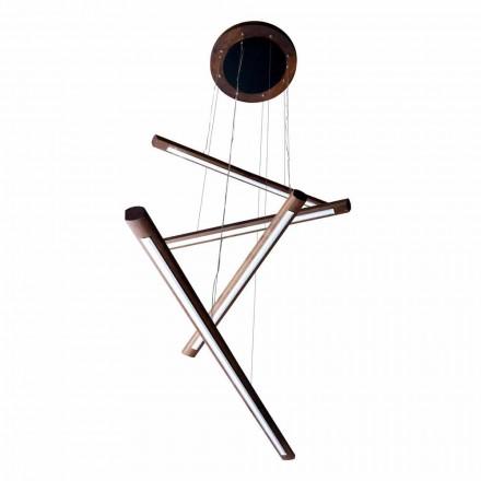 Una araña de diseño de 4 piezas en madera Grilli York hecha en Italia