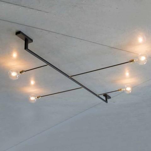Araña de diseño hecha a mano en hierro con 4 luces Made in Italy - Anima