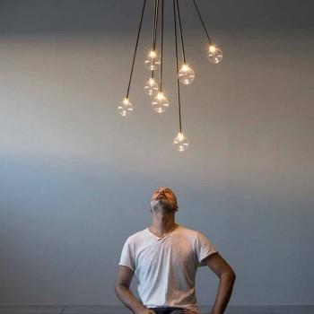 Araña de diseño de hierro hecha a mano con 7 luces Made in Italy - Ombro