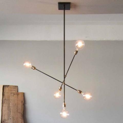 Araña de luces de hierro hecha a mano con elementos ajustables Made in Italy - Ondina