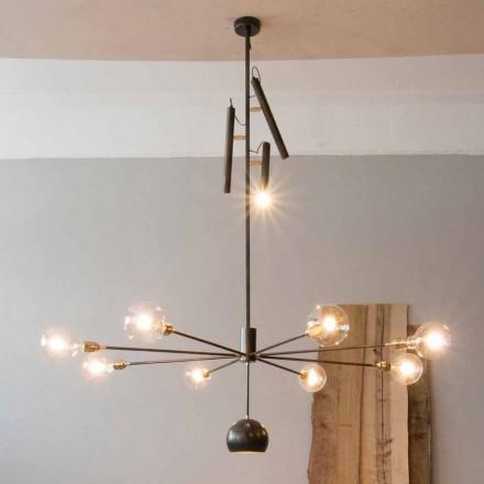 Lámpara de araña artesanal moderna con estructura de hierro Made in Italy - Stilla