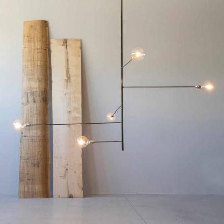 Lámpara de araña moderna hecha a mano con estructura de hierro Made in Italy - Tinna