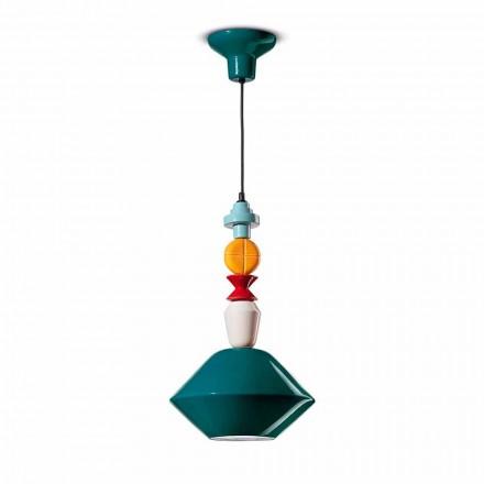 Lámpara de suspensión de cerámica verde o amarilla Made in Italy - Ferroluce Lariat