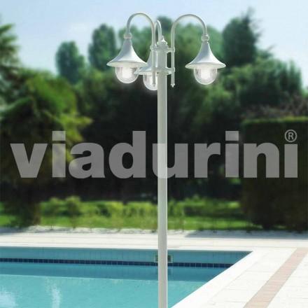 Farola exterior de tres luces en aluminio blanco, fabricado en Italia, Anusca