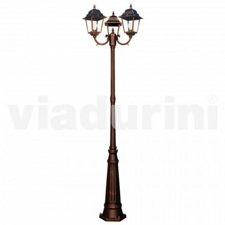 Farola clásica de tres luces para exterior, producida en Italia, Aquilina