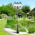 Farola de tres luces de jardín clásica hecha con aluminio, Kristel