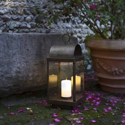 Linterna de jardín de hierro o latón con vela Il Fanale