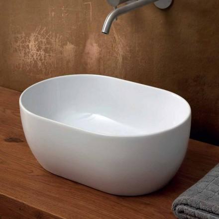 Lavabo sobre encimera de cerámica de 45x32 cm hecho en Italia Star, diseño moderno