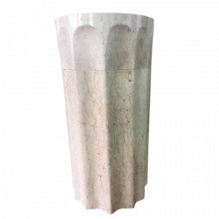 Lavabo columna margarita en piedra natural blanca, pieza única.