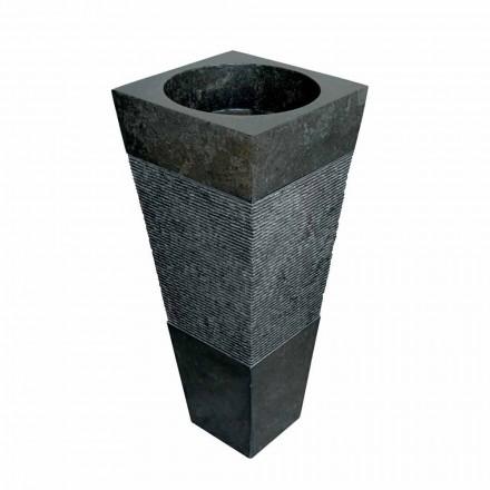 Lavabo de columna piramidal de piedra natural negra, Nias