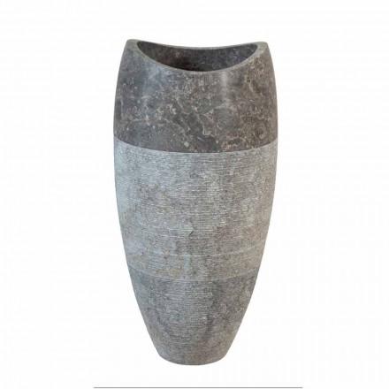 Lavabo de columna esférico de piedra natural ahumada, Gili