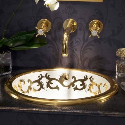 Lavabo empotrado decorado en arcilla fuego y oro hecho en Italia, Otis
