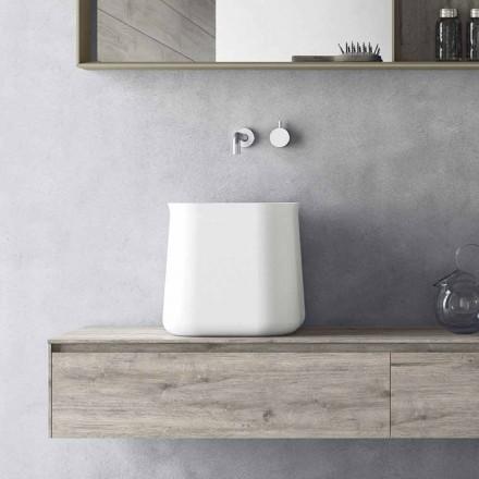 Lavabo sobre encimera cuadrado de diseño moderno en resina blanca - Tulyp