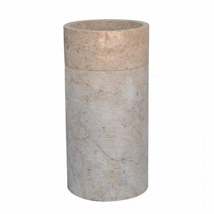 Lavabo de baño independiente en mármol acabado marfil forma cilíndrica - Cremino