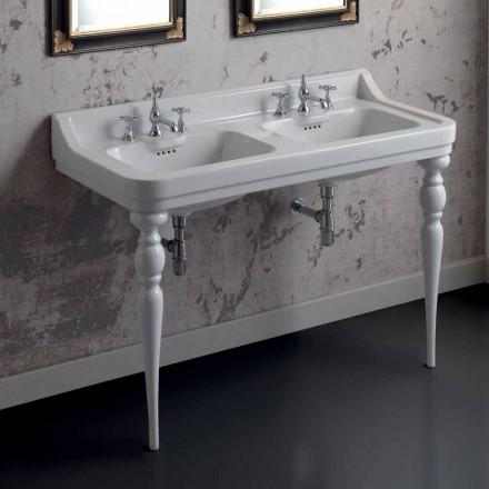 Consola de lavabo doble de cerámica clásica, hecha en Italia, Swami