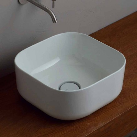 Lavabo de cerámica de 37x37cm hecho en Italia Star, diseño moderno.
