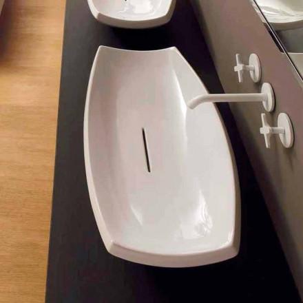 Lavabo de cerámica blanca con diseño moderno hecho en Italia Laura