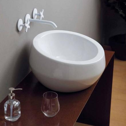 Lavabo de cerámica de diseño circular hecho en Italia Elisa
