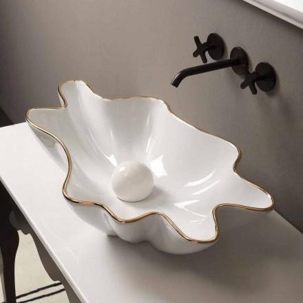 Lavabo sobre encimera de cerámica de diseño en oro blanco realizado en Italia Rayan