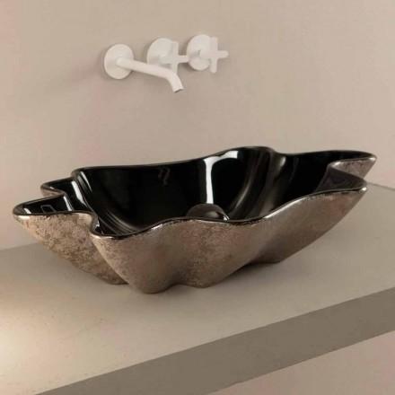 Lavabo sobre encimera en cerámica negra y plateada diseñada en Italia Rayan