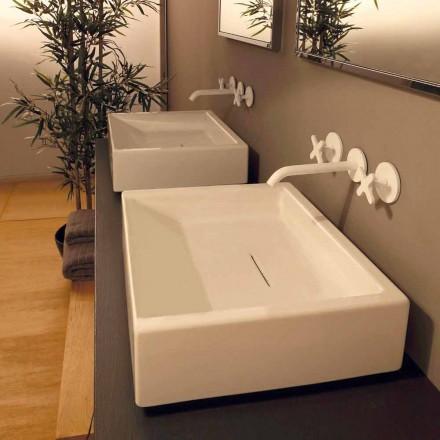 Lavabo rectangular de cerámica de diseño realizado en Italia Dalia