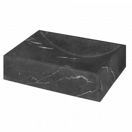 Lavabo sobre encimera de mármol Marquinia negro cuadrado Hecho en Italia - Bernini