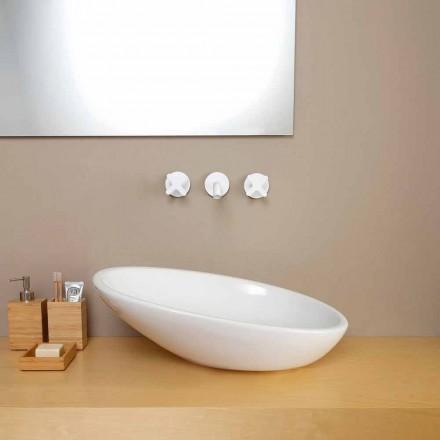 Diseño de lavabo de cerámica inclinado hecho en Italia Brillante