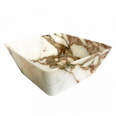 Lavabo sobre encimera moderno en mármol Calacatta de diseño Made in Italy - Kuore