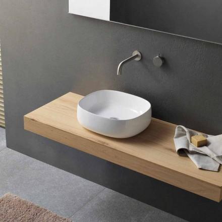 Lavabo sobre encimera de cerámica blanca de diseño ovalado moderno - Tune3