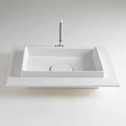 Lavabo sobre encimera rectangular de cerámica coloreada Made in Italy - Voltino